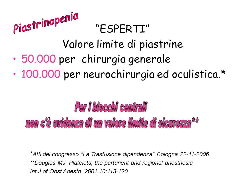 ESPERTI Valore limite di piastrine 50.000 per chirurgia generale 100.000 per neurochirurgia ed oculistica.* * Atti del congresso La Trasfusione dipend