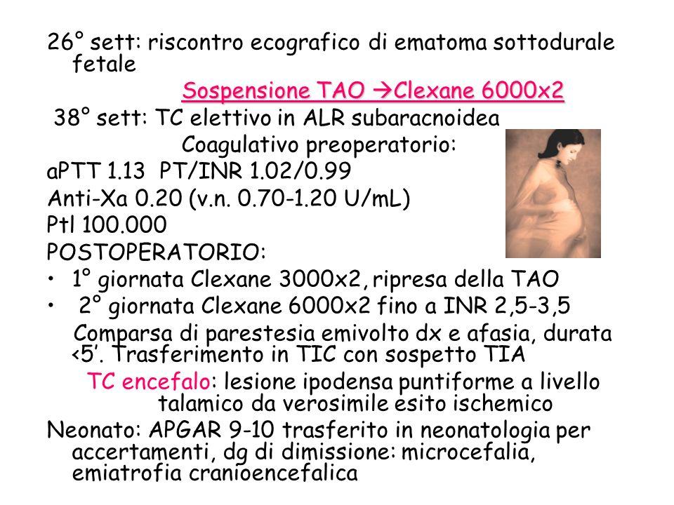 26° sett: riscontro ecografico di ematoma sottodurale fetale Sospensione TAO Clexane 6000x2 38° sett: TC elettivo in ALR subaracnoidea Coagulativo pre
