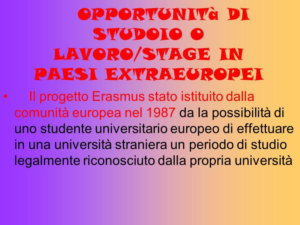 OPPORTUNITà DI STUDOIO O LAVORO/STAGE IN PAESI EXTRAEUROPEI Il progetto Erasmus stato istituito dalla comunità europea nel 1987 da la possibilità di u