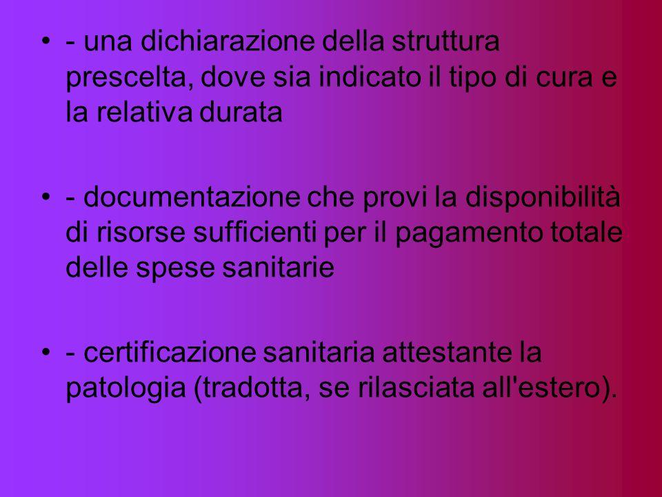 - una dichiarazione della struttura prescelta, dove sia indicato il tipo di cura e la relativa durata - documentazione che provi la disponibilità di r