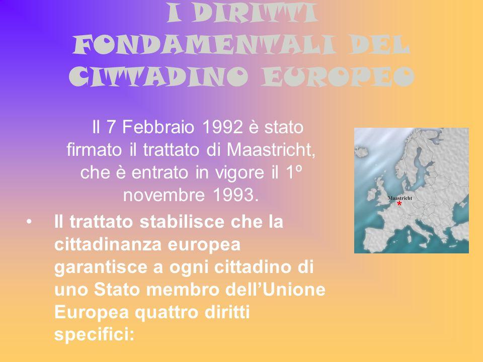 I DIRITTI FONDAMENTALI DEL CITTADINO EUROPEO Il 7 Febbraio 1992 è stato firmato il trattato di Maastricht, che è entrato in vigore il 1º novembre 1993