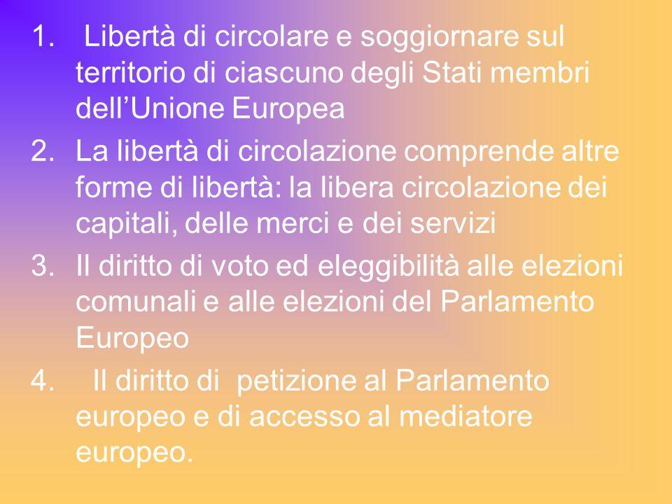 1. Libertà di circolare e soggiornare sul territorio di ciascuno degli Stati membri dellUnione Europea 2.La libertà di circolazione comprende altre fo