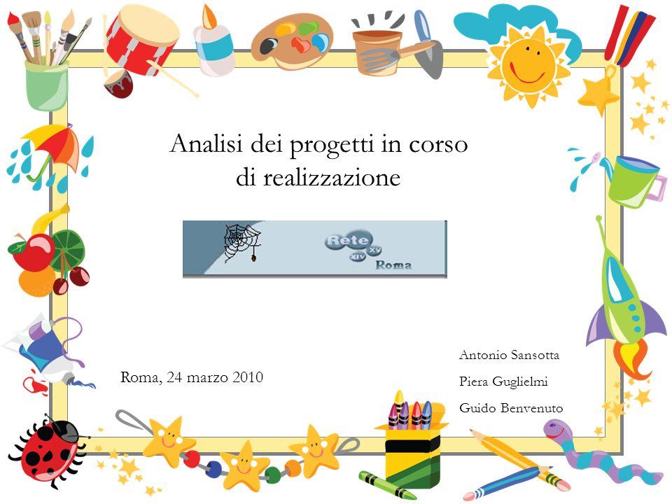Analisi dei progetti in corso di realizzazione Roma, 24 marzo 2010 Antonio Sansotta Piera Guglielmi Guido Benvenuto
