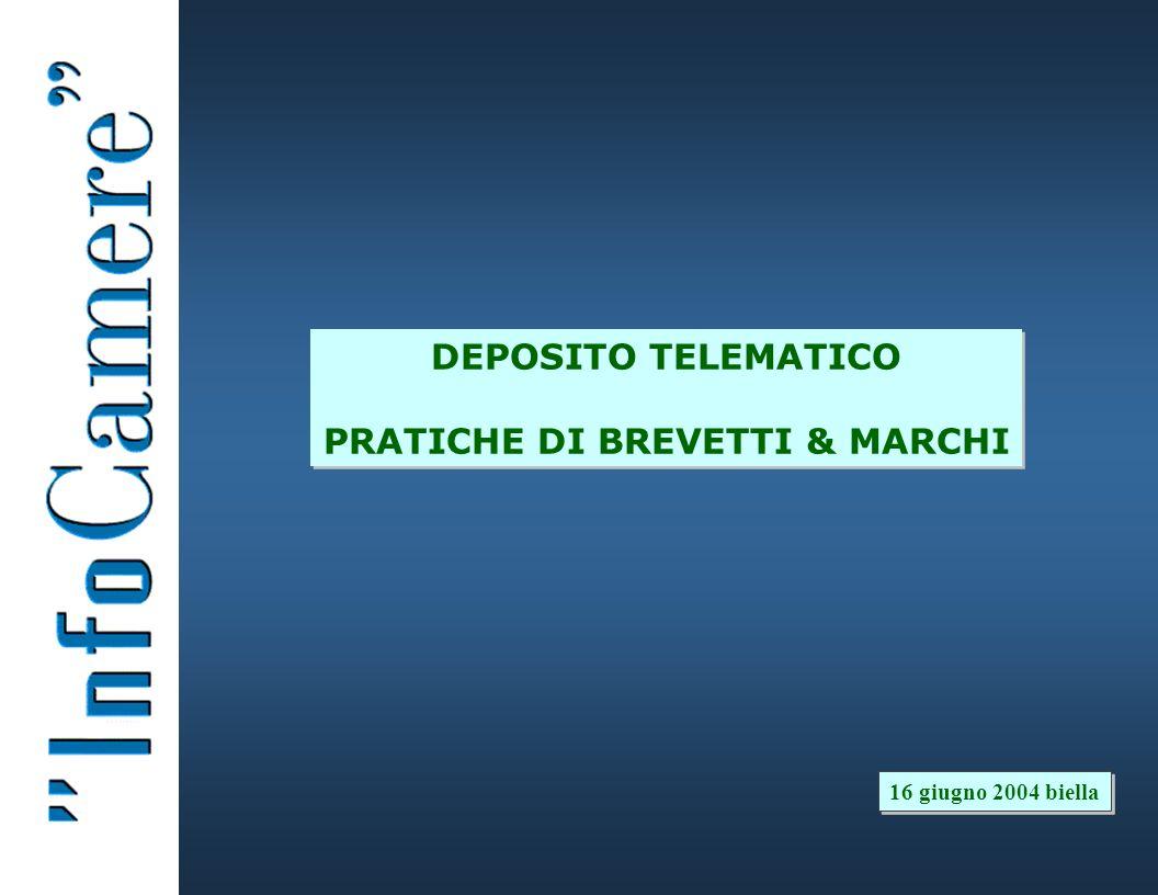 DEPOSITO TELEMATICO PRATICHE DI BREVETTI & MARCHI 16 giugno 2004 biella