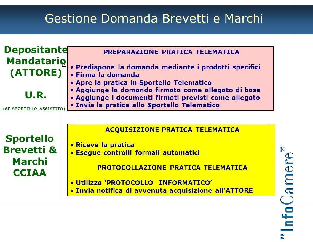 Gestione Domanda Brevetti e Marchi Depositante Mandatario (ATTORE) U.R. (SE SPORTELLO ASSISTITO) PREPARAZIONE PRATICA TELEMATICA Predispone la domanda