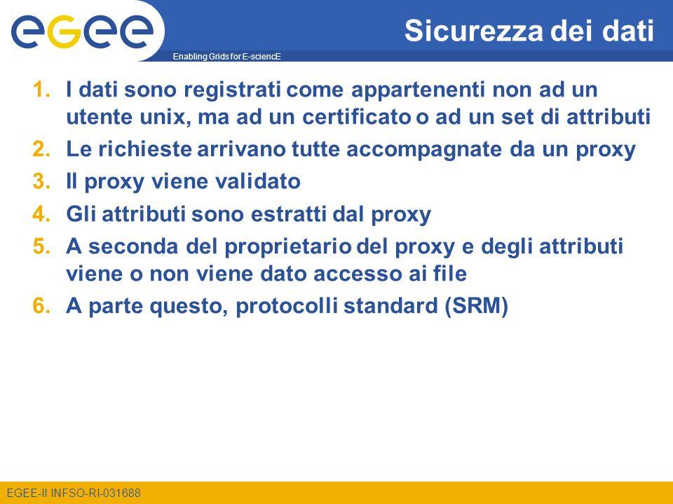 Enabling Grids for E-sciencE EGEE-II INFSO-RI-031688 Sicurezza dei dati 1.I dati sono registrati come appartenenti non ad un utente unix, ma ad un cer