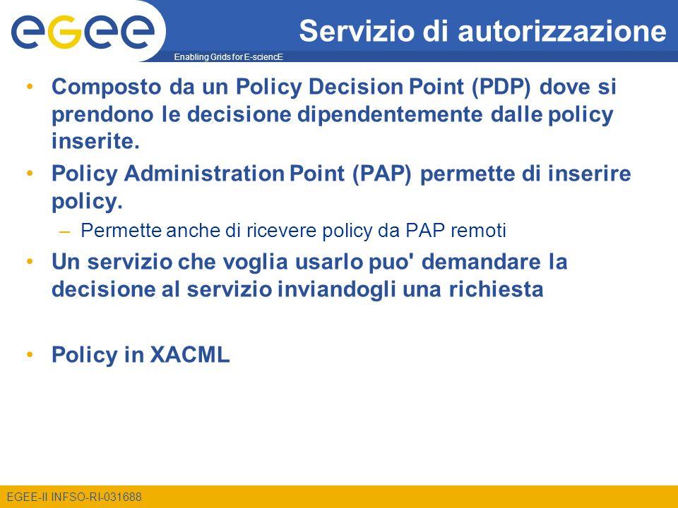 Enabling Grids for E-sciencE EGEE-II INFSO-RI-031688 Servizio di autorizzazione Composto da un Policy Decision Point (PDP) dove si prendono le decisio