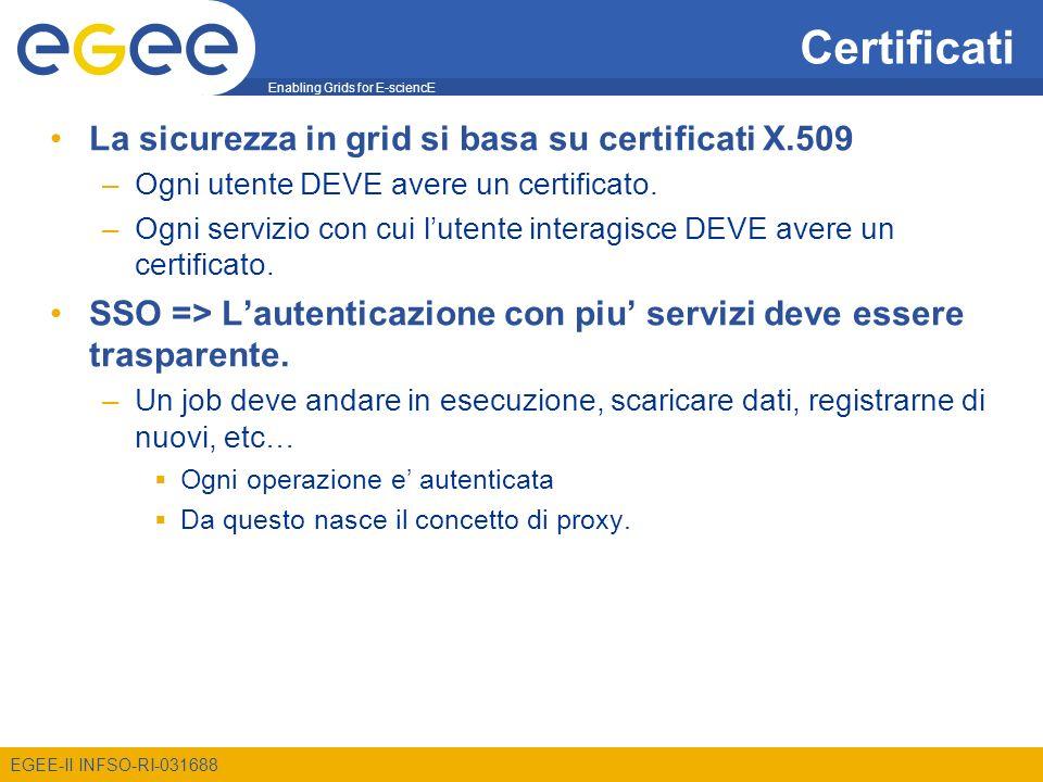 Enabling Grids for E-sciencE EGEE-II INFSO-RI-031688 Certificati La sicurezza in grid si basa su certificati X.509 –Ogni utente DEVE avere un certific