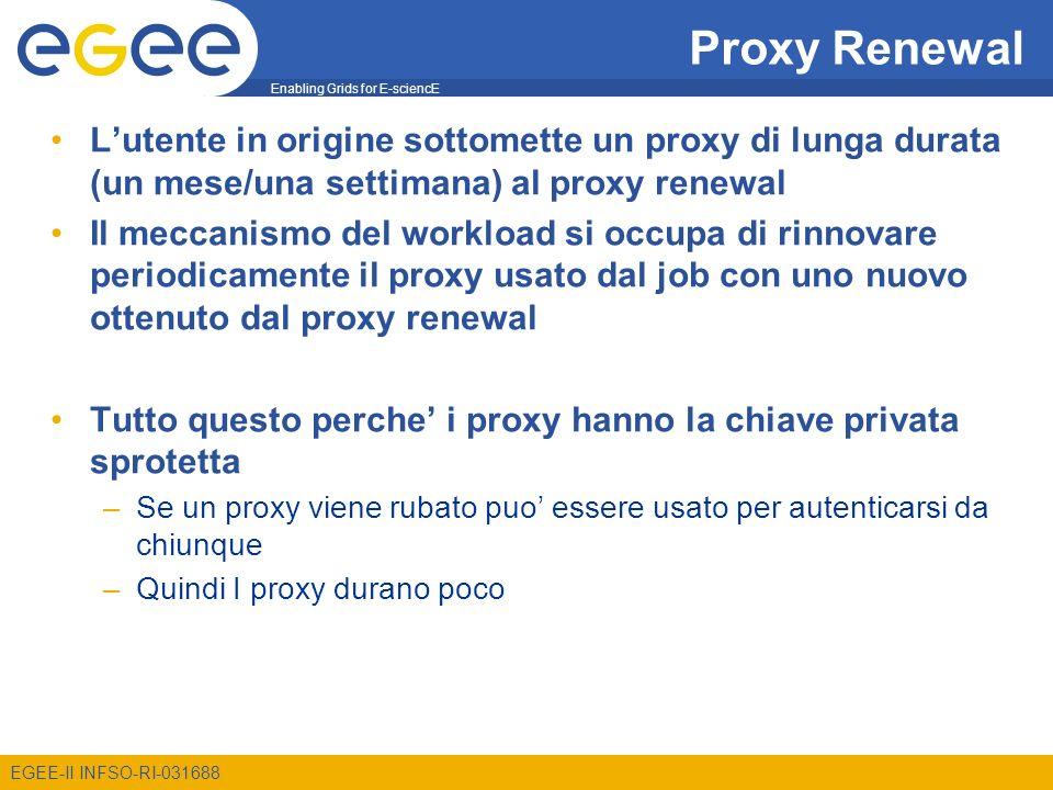 Enabling Grids for E-sciencE EGEE-II INFSO-RI-031688 Proxy Renewal Lutente in origine sottomette un proxy di lunga durata (un mese/una settimana) al p