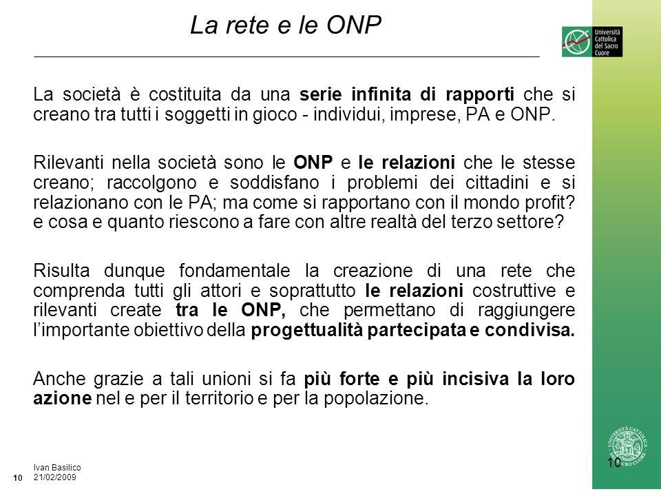 Ufficio / Autore DataIvan Basilico 21/02/2009 10 La rete e le ONP La società è costituita da una serie infinita di rapporti che si creano tra tutti i soggetti in gioco - individui, imprese, PA e ONP.