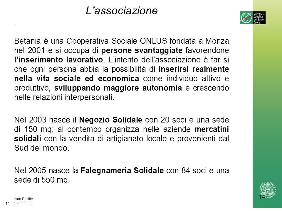Ufficio / Autore DataIvan Basilico 21/02/2009 14 Lassociazione Betania è una Cooperativa Sociale ONLUS fondata a Monza nel 2001 e si occupa di persone svantaggiate favorendone linserimento lavorativo.