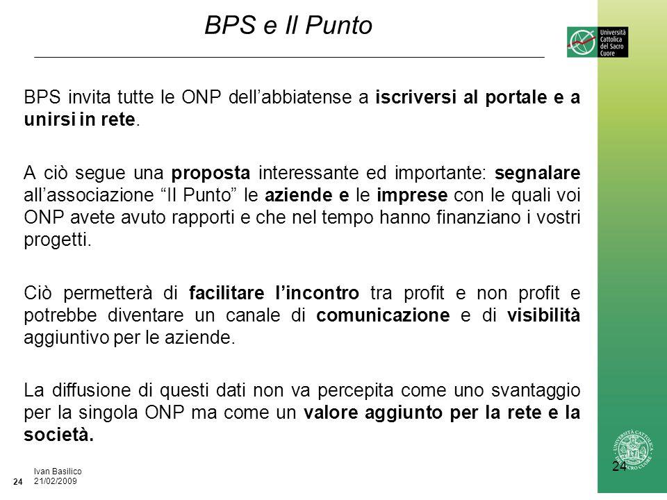 Ufficio / Autore DataIvan Basilico 21/02/2009 24 BPS e Il Punto BPS invita tutte le ONP dellabbiatense a iscriversi al portale e a unirsi in rete.