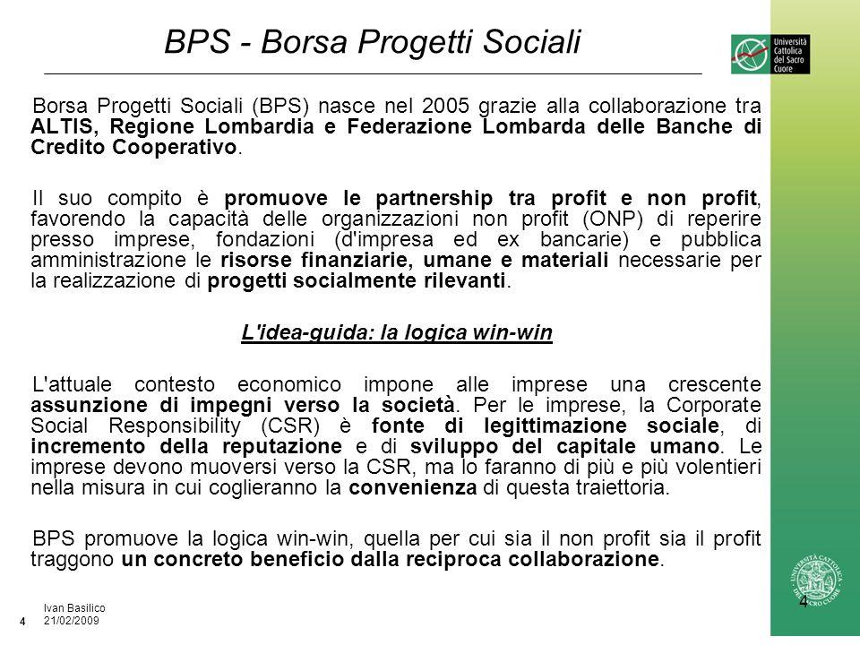 Ufficio / Autore DataIvan Basilico 21/02/2009 4 4 BPS - Borsa Progetti Sociali Borsa Progetti Sociali (BPS) nasce nel 2005 grazie alla collaborazione tra ALTIS, Regione Lombardia e Federazione Lombarda delle Banche di Credito Cooperativo.