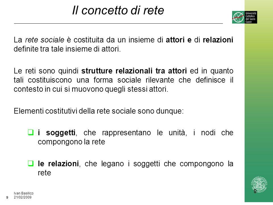 Ufficio / Autore DataIvan Basilico 21/02/2009 9 9 Il concetto di rete La rete sociale è costituita da un insieme di attori e di relazioni definite tra tale insieme di attori.