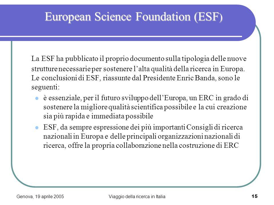 Genova, 19 aprile 2005Viaggio della ricerca in Italia15 European Science Foundation (ESF ) European Science Foundation (ESF ) La ESF ha pubblicato il proprio documento sulla tipologia delle nuove strutture necessarie per sostenere lalta qualità della ricerca in Europa.
