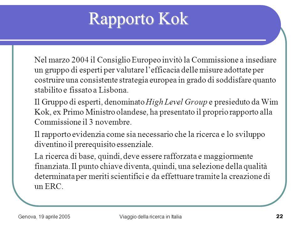 Genova, 19 aprile 2005Viaggio della ricerca in Italia22 Rapporto Kok Nel marzo 2004 il Consiglio Europeo invitò la Commissione a insediare un gruppo di esperti per valutare lefficacia delle misure adottate per costruire una consistente strategia europea in grado di soddisfare quanto stabilito e fissato a Lisbona.