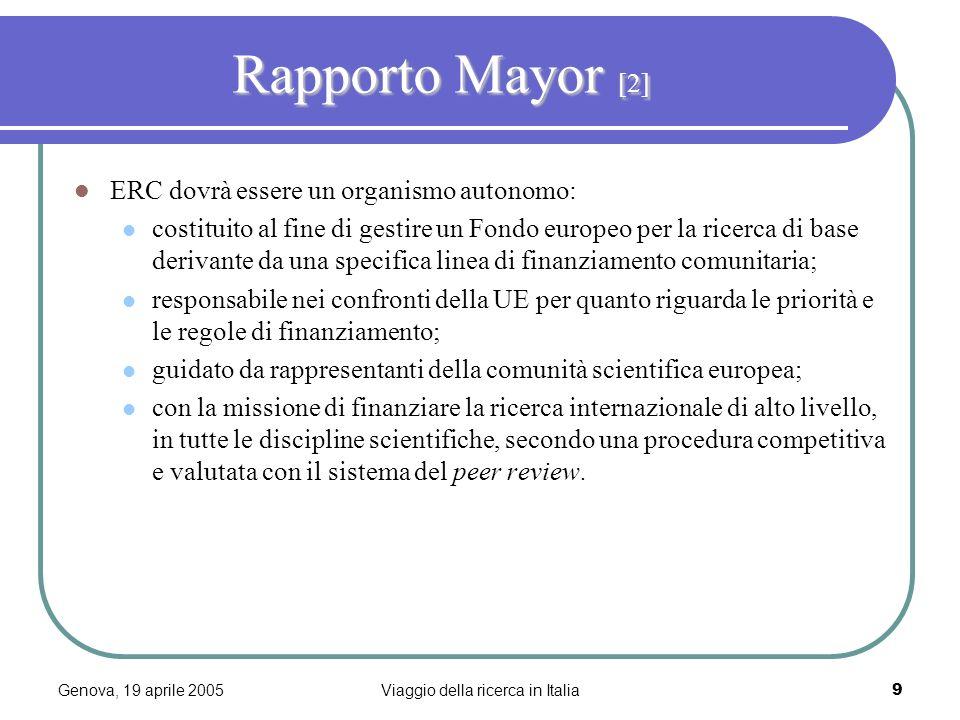 Genova, 19 aprile 2005Viaggio della ricerca in Italia9 Rapporto Mayor [2] ERC dovrà essere un organismo autonomo: costituito al fine di gestire un Fondo europeo per la ricerca di base derivante da una specifica linea di finanziamento comunitaria; responsabile nei confronti della UE per quanto riguarda le priorità e le regole di finanziamento; guidato da rappresentanti della comunità scientifica europea; con la missione di finanziare la ricerca internazionale di alto livello, in tutte le discipline scientifiche, secondo una procedura competitiva e valutata con il sistema del peer review.