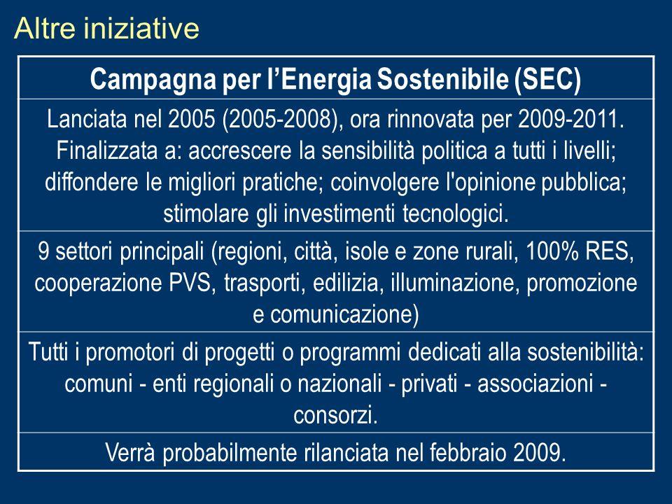 Altre iniziative Campagna per lEnergia Sostenibile (SEC) Lanciata nel 2005 (2005-2008), ora rinnovata per 2009-2011. Finalizzata a: accrescere la sens