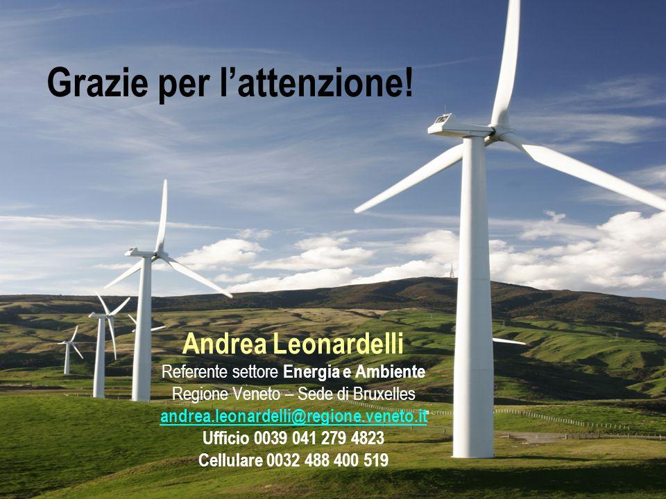 Grazie per lattenzione! Andrea Leonardelli Referente settore Energia e Ambiente Regione Veneto – Sede di Bruxelles andrea.leonardelli@regione.veneto.i