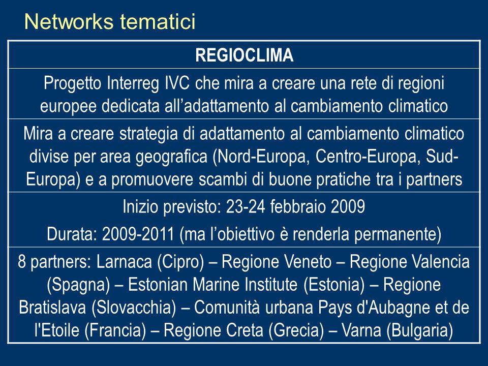 Networks tematici REGIOCLIMA Progetto Interreg IVC che mira a creare una rete di regioni europee dedicata alladattamento al cambiamento climatico Mira