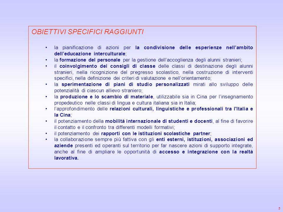 5 OBIETTIVI SPECIFICI RAGGIUNTI la pianificazione di azioni per la condivisione delle esperienze nellambito delleducazione interculturale; la formazione del personale per la gestione dellaccoglienza degli alunni stranieri; il coinvolgimento dei consigli di classe delle classi di destinazione degli alunni stranieri, nella ricognizione del pregresso scolastico, nella costruzione di interventi specifici, nella definizione dei criteri di valutazione e nellorientamento; la sperimentazione di piani di studio personalizzati mirati allo sviluppo delle potenzialità di ciascun allievo straniero; la produzione e lo scambio di materiale, utilizzabile sia in Cina per linsegnamento propedeutico nelle classi di lingua e cultura italiana sia in Italia; lapprofondimento delle relazioni culturali, linguistiche e professionali tra l Italia e la Cina; il potenziamento della mobilità internazionale di studenti e docenti, al fine di favorire il contatto e il confronto tra differenti modelli formativi; il potenziamento dei rapporti con le istituzioni scolastiche partner; la collaborazione sempre più fattiva con gli enti esterni, istituzioni, associazioni ed aziende presenti ed operanti sul territorio per far nascere azioni di supporto integrate, anche al fine di ampliare le opportunità di accesso e integrazione con la realtà lavorativa.