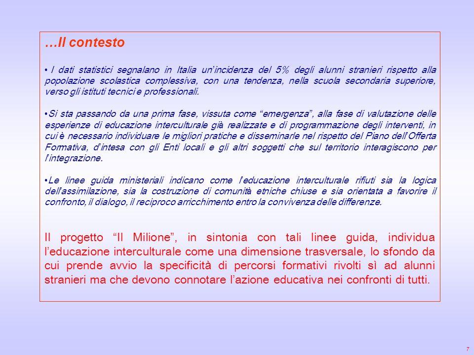…Il contesto I dati statistici segnalano in Italia un incidenza del 5% degli alunni stranieri rispetto alla popolazione scolastica complessiva, con una tendenza, nella scuola secondaria superiore, verso gli istituti tecnici e professionali.