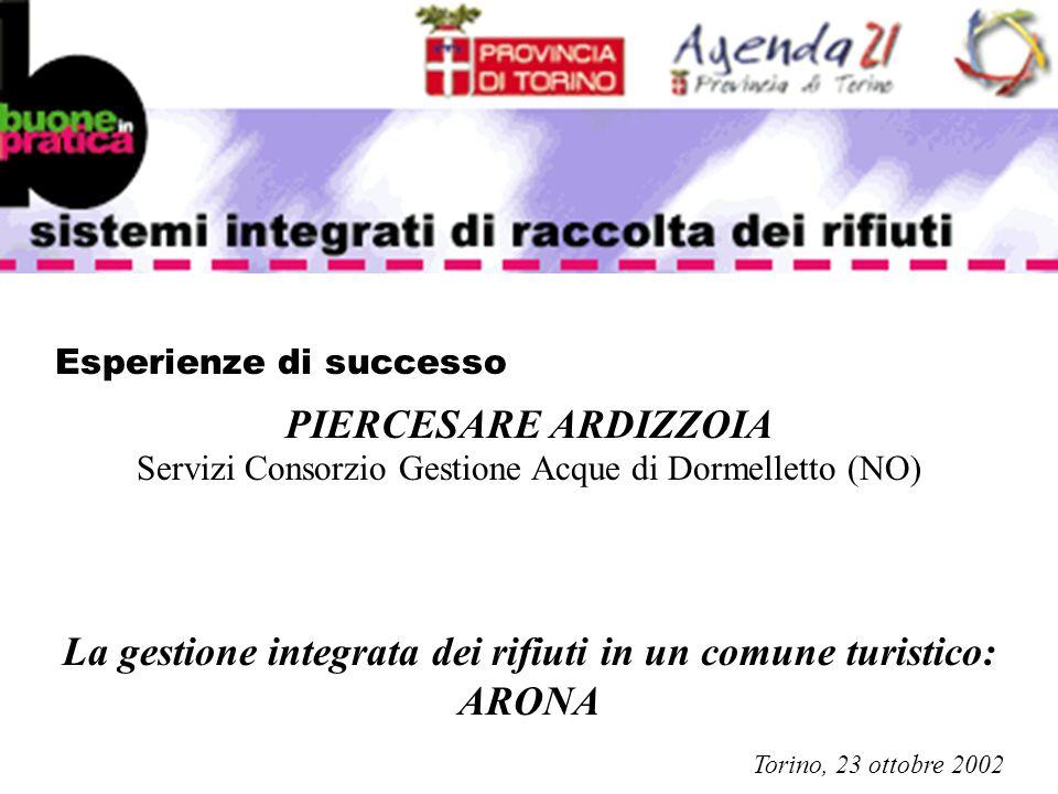 Esperienze di successo PIERCESARE ARDIZZOIA Servizi Consorzio Gestione Acque di Dormelletto (NO) La gestione integrata dei rifiuti in un comune turistico: ARONA Torino, 23 ottobre 2002