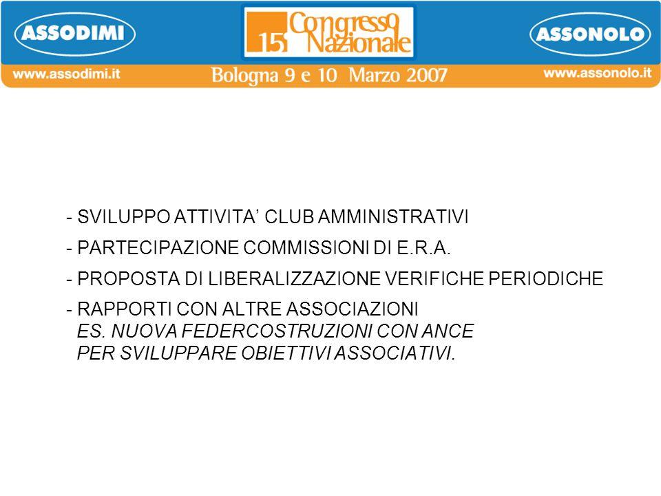 - SVILUPPO ATTIVITA CLUB AMMINISTRATIVI - PARTECIPAZIONE COMMISSIONI DI E.R.A. - PROPOSTA DI LIBERALIZZAZIONE VERIFICHE PERIODICHE - RAPPORTI CON ALTR