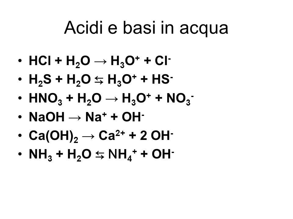 Acidi e basi in acqua HCl + H 2 O H 3 O + + Cl - H 2 S + H 2 O H 3 O + + HS - HNO 3 + H 2 O H 3 O + + NO 3 - NaOH Na + + OH - Ca(OH) 2 Ca 2+ + 2 OH -