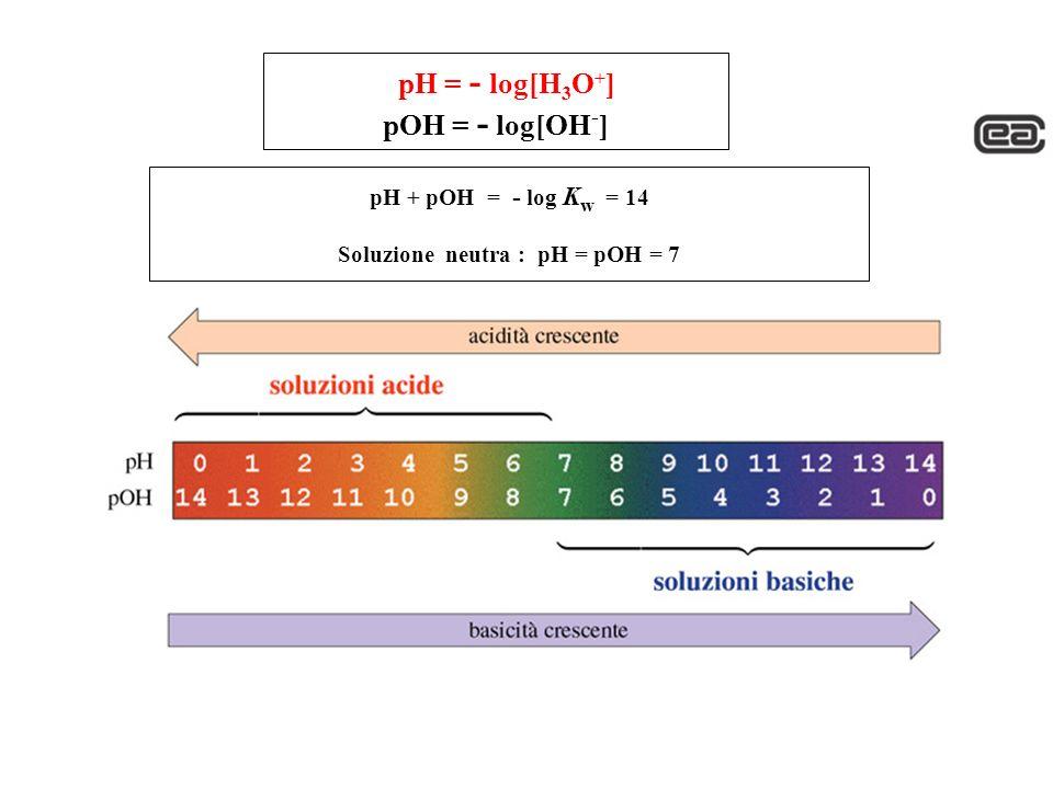 pH = - log[H 3 O + ] pOH = - log[OH - ] pH + pOH = - log K w = 14 Soluzione neutra : pH = pOH = 7