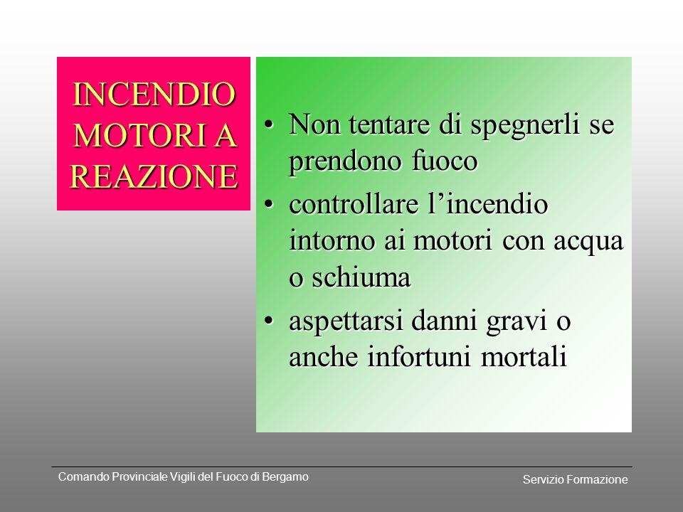 Servizio Formazione Comando Provinciale Vigili del Fuoco di Bergamo INCENDIO MOTORI SOTTO LE ALI Pericolo causato dalla vicinanza con i serbatoi;Peric