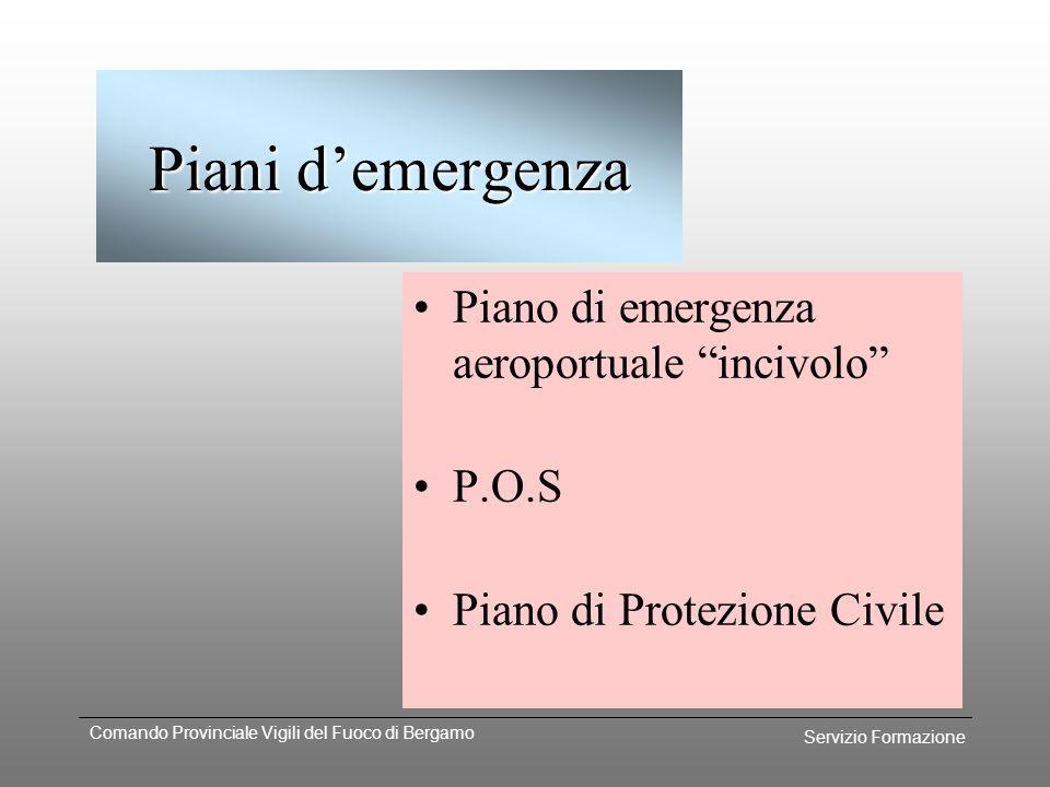 Servizio Formazione Comando Provinciale Vigili del Fuoco di Bergamo Gestione dellintervento Tipo demergenza Strutture coinvolte Fasi d'intervento Sett