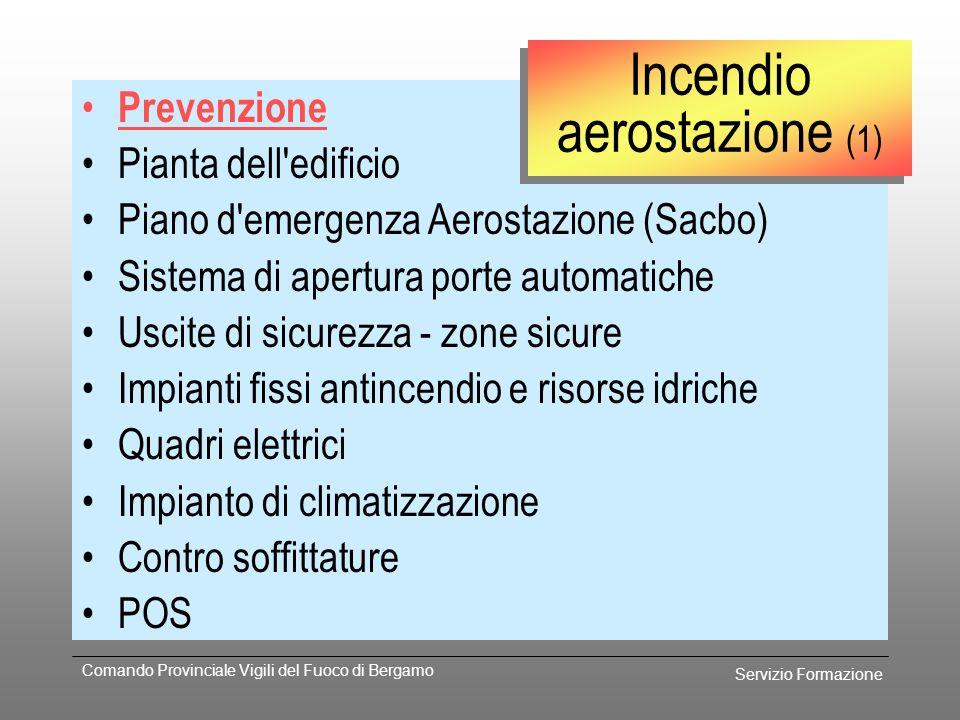 Servizio Formazione Comando Provinciale Vigili del Fuoco di Bergamo Incendio di strutture a terra Incendio aerostazioneIncendio aerostazione Incendio