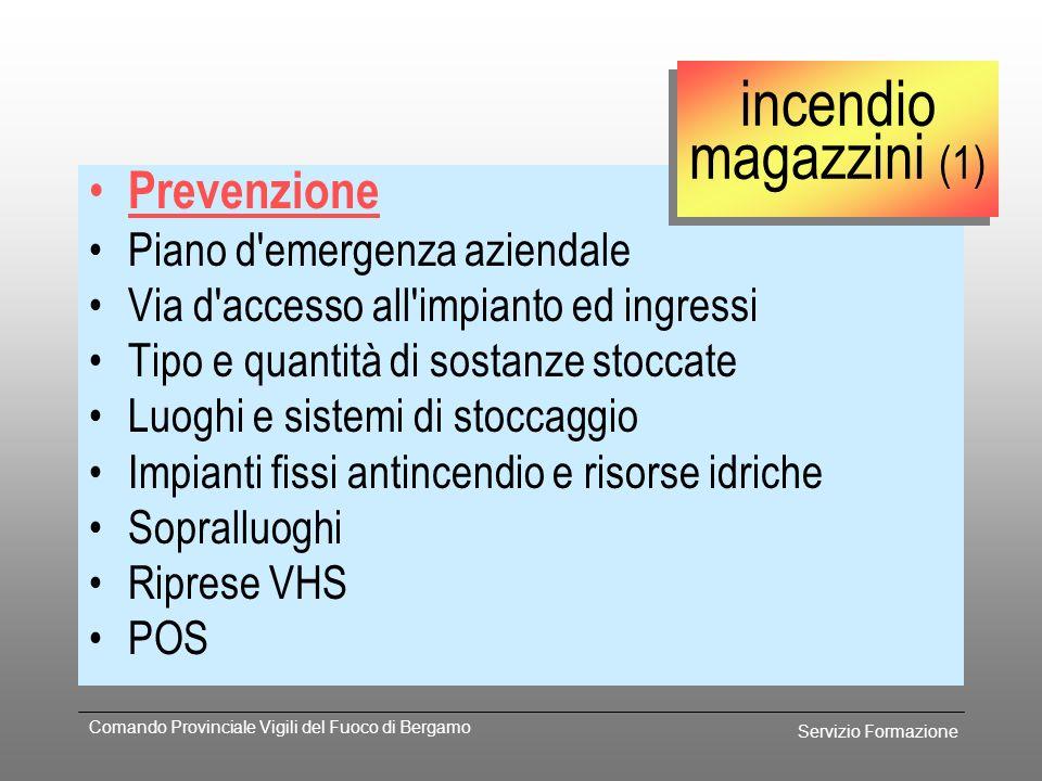 Servizio Formazione Comando Provinciale Vigili del Fuoco di Bergamo Procedura Richiedere intervento sede centrale VV.F. UCT riduzione potenziale antin