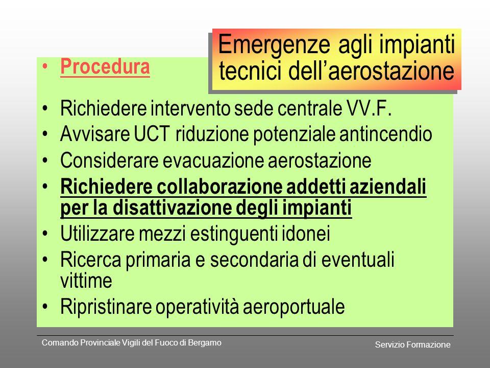 Servizio Formazione Comando Provinciale Vigili del Fuoco di Bergamo Prevenzione Piano d'emergenza gestore Ubicazione dei diversi impianti Planimetrie