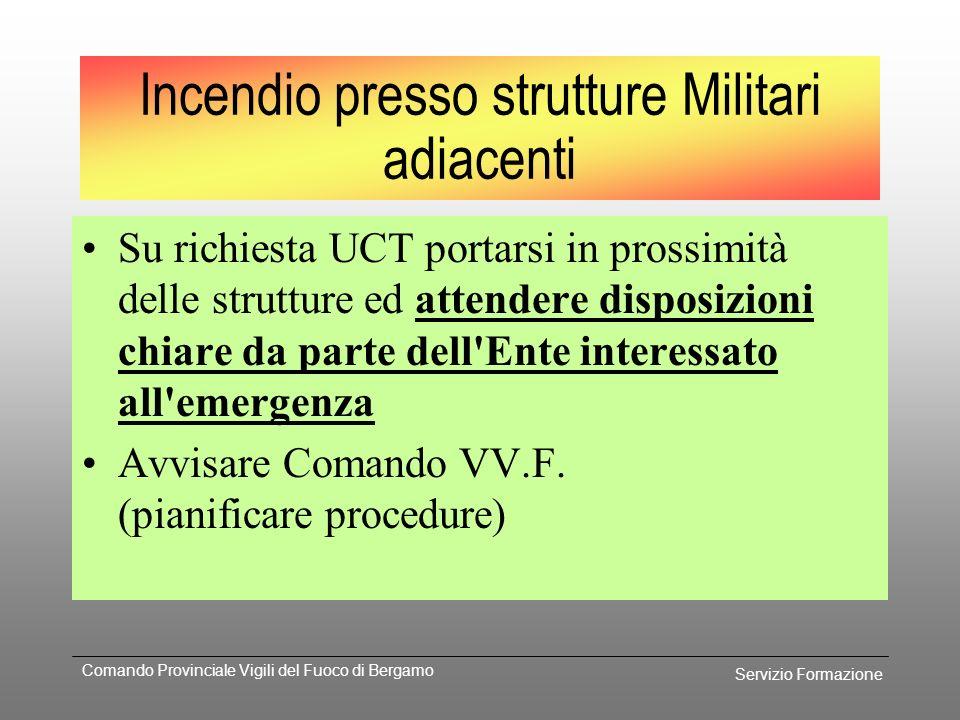 Servizio Formazione Comando Provinciale Vigili del Fuoco di Bergamo Procedura Richiedere intervento sede centrale VV.F. Avvisare UCT riduzione potenzi