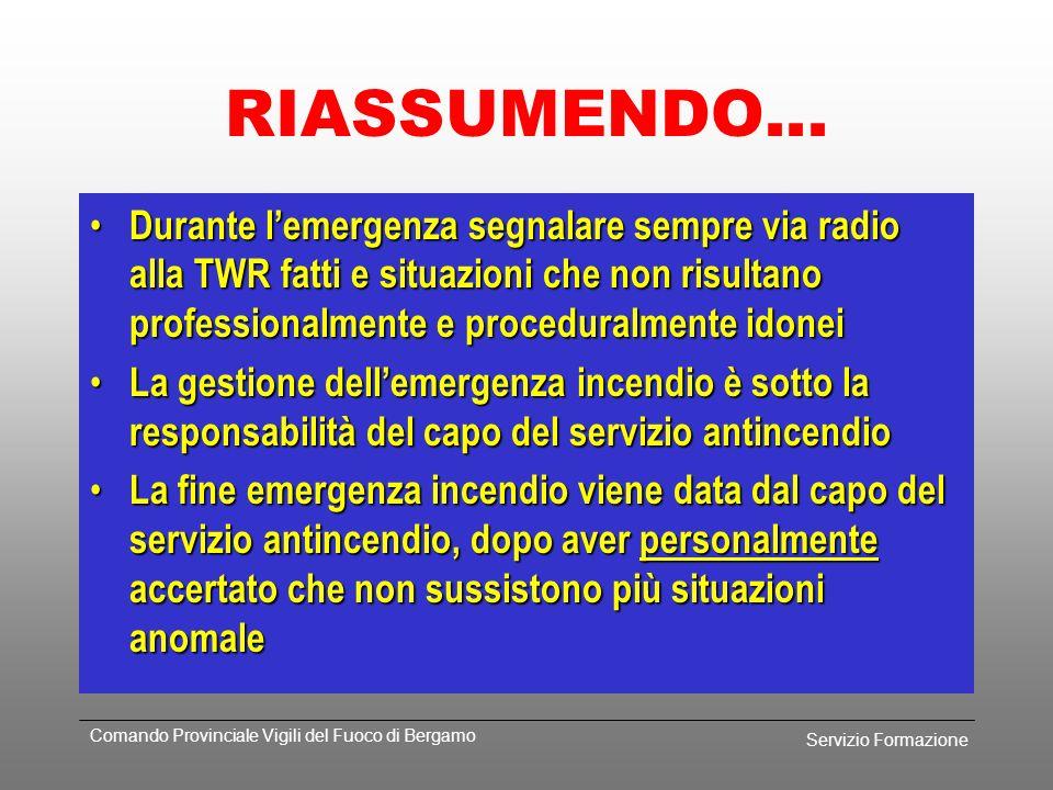 Servizio Formazione Comando Provinciale Vigili del Fuoco di Bergamo Il piano di emergenza incivolo Incivolo (definizioni aeroportuali, nominativi radi
