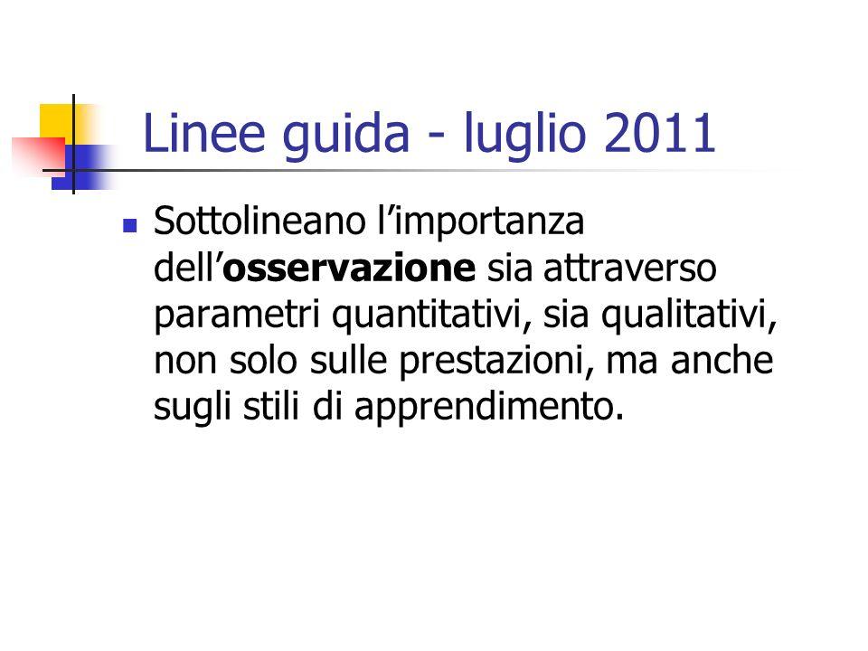 Linee guida - luglio 2011 Sottolineano limportanza dellosservazione sia attraverso parametri quantitativi, sia qualitativi, non solo sulle prestazioni