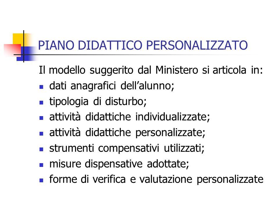 PIANO DIDATTICO PERSONALIZZATO Il modello suggerito dal Ministero si articola in: dati anagrafici dellalunno; tipologia di disturbo; attività didattic