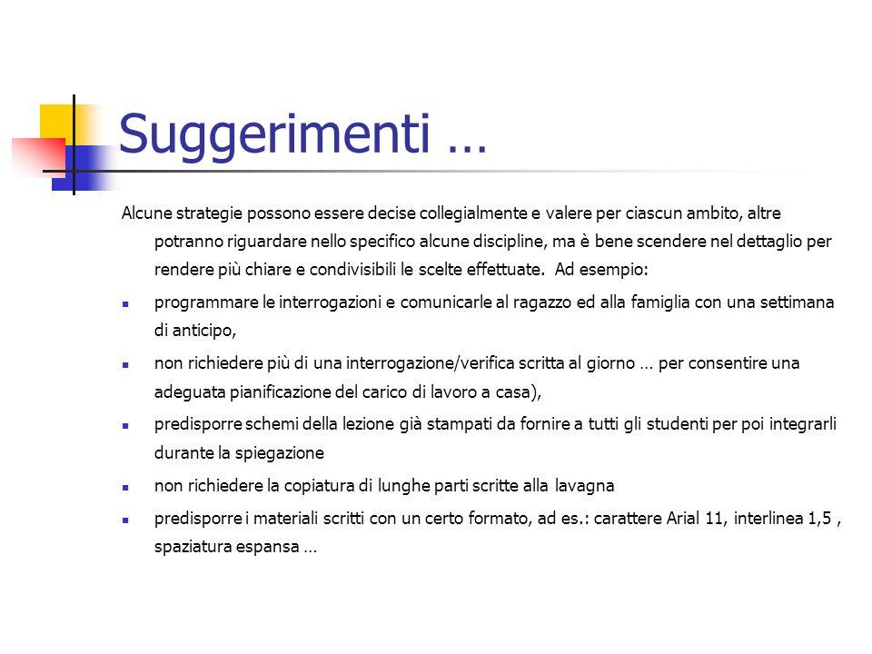Suggerimenti … Alcune strategie possono essere decise collegialmente e valere per ciascun ambito, altre potranno riguardare nello specifico alcune dis