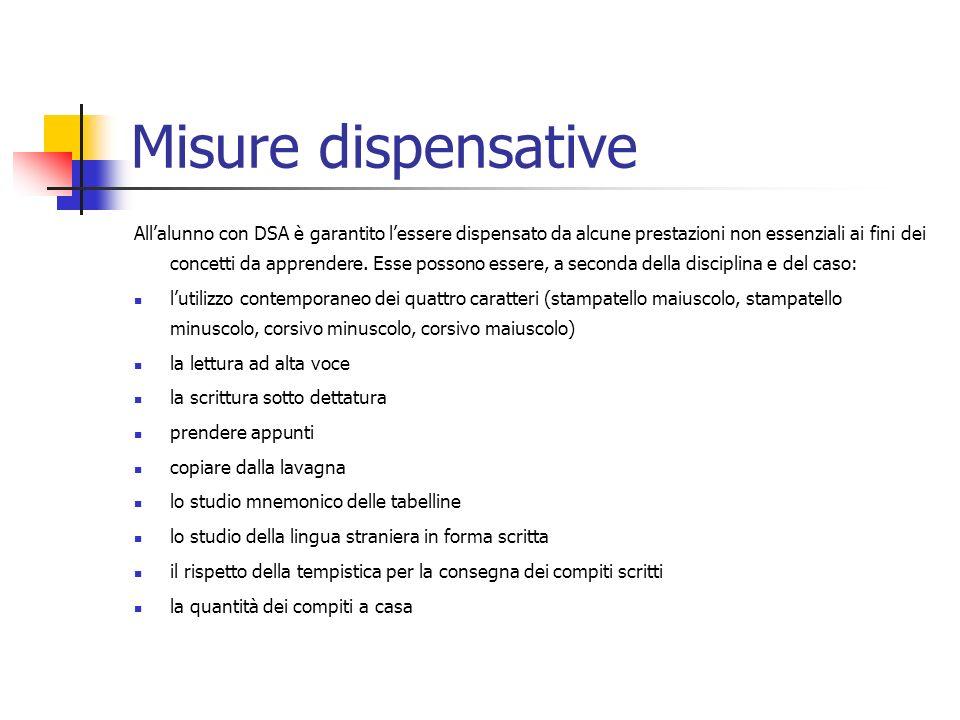 Misure dispensative Allalunno con DSA è garantito lessere dispensato da alcune prestazioni non essenziali ai fini dei concetti da apprendere. Esse pos