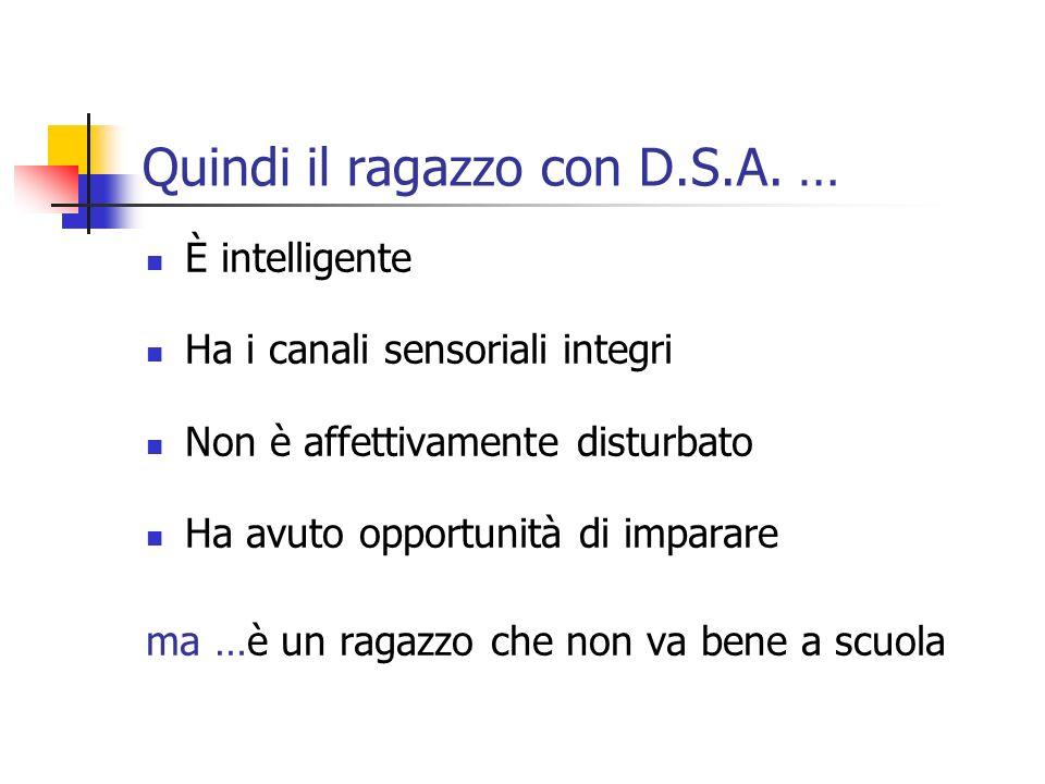 Quindi il ragazzo con D.S.A. … È intelligente Ha i canali sensoriali integri Non è affettivamente disturbato Ha avuto opportunità di imparare ma …è un