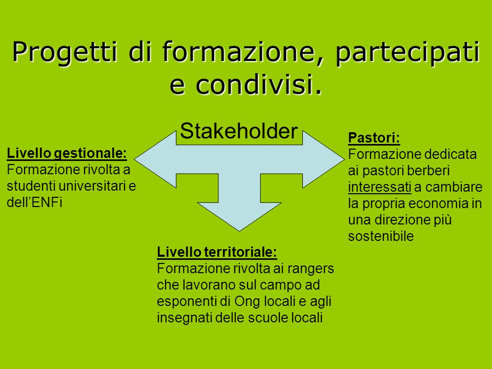 Stakeholder Livello gestionale: Formazione rivolta a studenti universitari e dellENFi Livello territoriale: Formazione rivolta ai rangers che lavorano