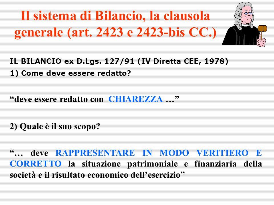 IL BILANCIO ex D.Lgs. 127/91 (IV Diretta CEE, 1978) 1) Come deve essere redatto? deve essere redatto con CHIAREZZA … … deve RAPPRESENTARE IN MODO VERI