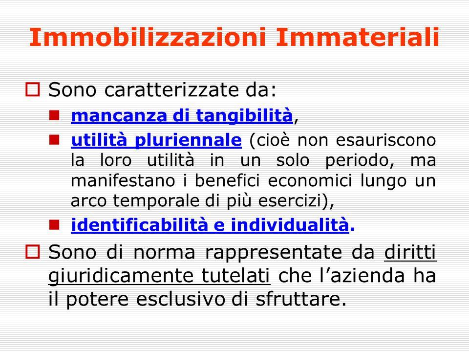 Immobilizzazioni Immateriali Sono caratterizzate da: mancanza di tangibilità, utilità pluriennale (cioè non esauriscono la loro utilità in un solo per