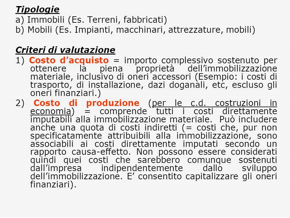 Tipologie a) Immobili (Es. Terreni, fabbricati) b) Mobili (Es. Impianti, macchinari, attrezzature, mobili) Criteri di valutazione 1) Costo dacquisto =
