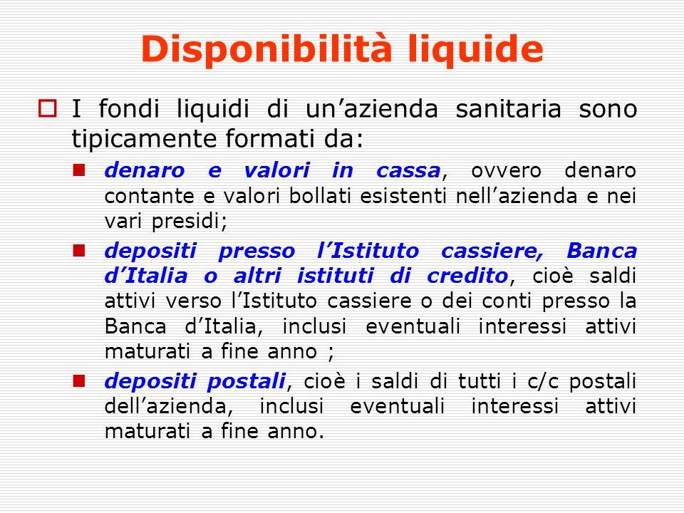 Disponibilità liquide I fondi liquidi di unazienda sanitaria sono tipicamente formati da: denaro e valori in cassa, ovvero denaro contante e valori bo