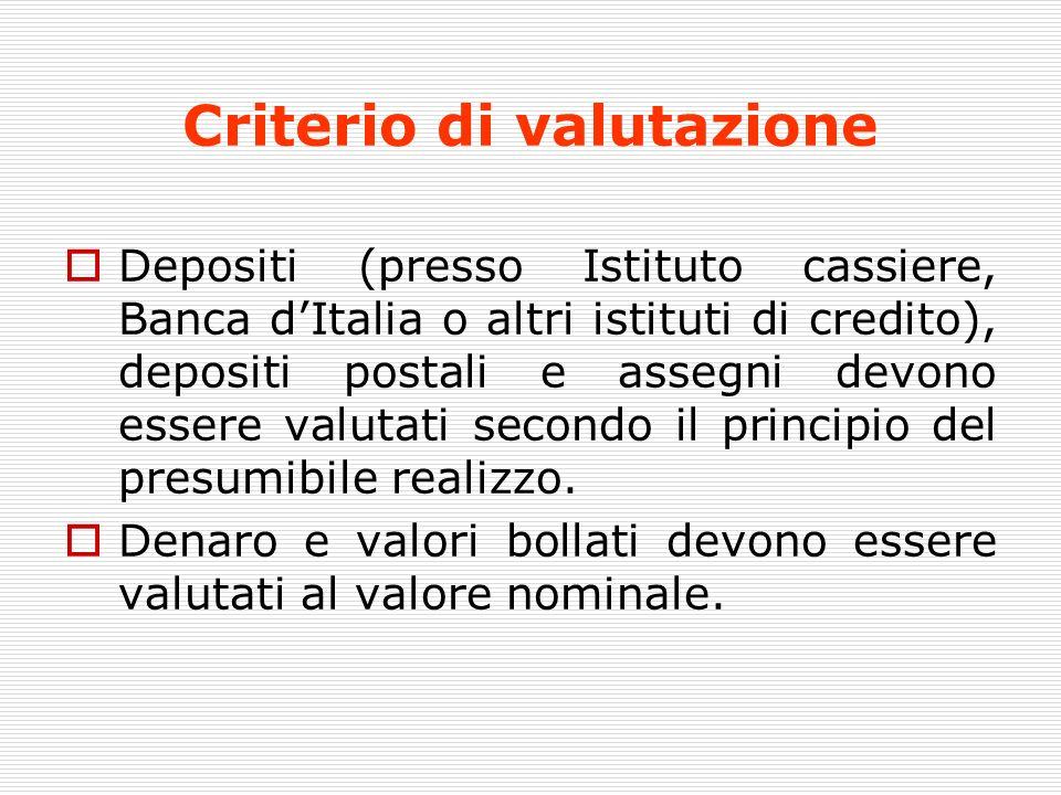 Criterio di valutazione Depositi (presso Istituto cassiere, Banca dItalia o altri istituti di credito), depositi postali e assegni devono essere valut