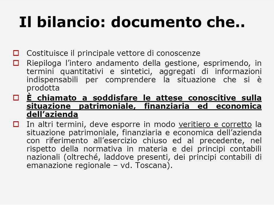 Il bilancio: documento che.. Costituisce il principale vettore di conoscenze Riepiloga lintero andamento della gestione, esprimendo, in termini quanti