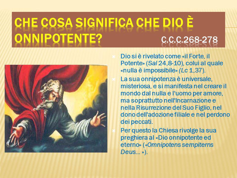 Dio si è rivelato come «il Forte, il Potente» (Sal 24,8-10), colui al quale «nulla è impossibile» (Lc 1,37). La sua onnipotenza è universale, misterio
